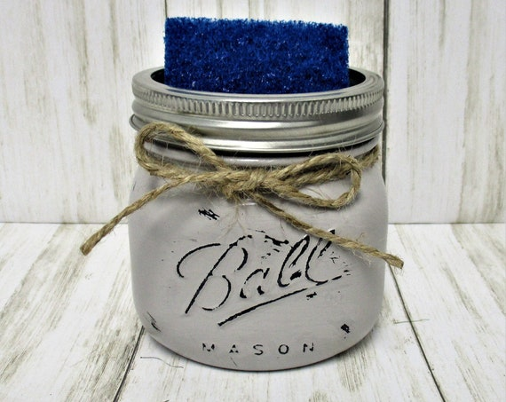 Mason Jar Kitchen Sponge Holder, Makeup Brush Holder, Pen Holder, Desk Accessories, Vanity Decor, Kitchen Decor, Country Kitchen