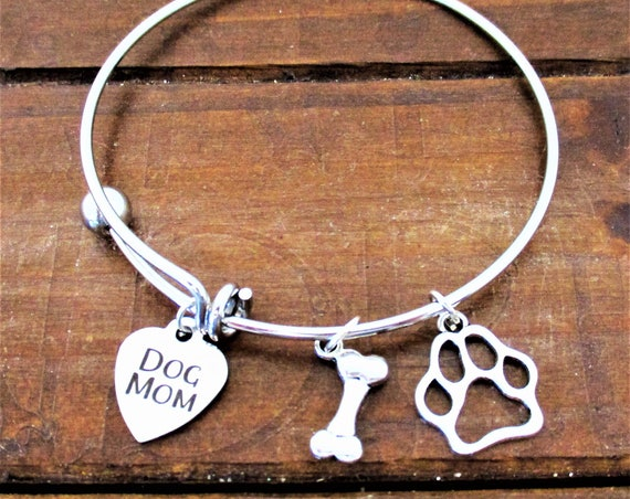 Dog Mom Charm Bracelet, Dog Jewelry, Dog Paw Charm, Dog Bone Charm, Dog Bracelet, Dog Mom Charm, Pet Jewelry