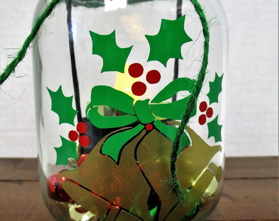 Christmas Mason Jar Tea Light Candle Decor, Holiday Bells, Christmas Tealight Holder, Christmas Mason Jar Decor, Jingle Bells