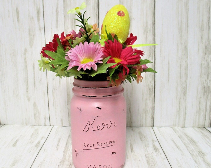 Pink Spring Easter Mason Jar Centerpiece, Easter Decor, Spring Decor, Farmhouse Decor, Country Decor, Spring Flowers