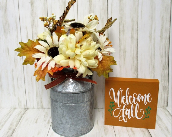 Fall Centerpiece, Galvanized Can Fall Décor, Fall Décor, Farmhouse Décor, Thanksgiving Decor, Rustic Decor, Hello Fall