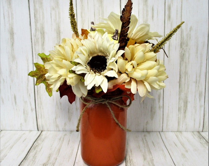 Fall Thanksgiving Centerpiece, Flower and Pumpkin Arrangement, Home Decor, Country Chic, Farmhouse Decor,  Mason Jar Decor, Fall Decor