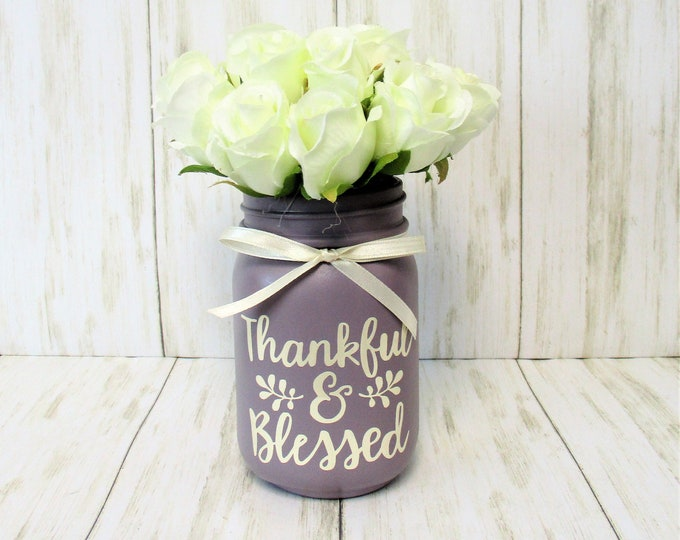 Thankful and Blessed Rose Centerpiece, Country Chic Decor, Shabby Chic Flower Arrangement, Country Centerpiece, Mothers Day