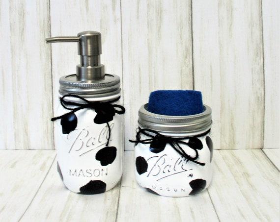 Cow Mason Jar Kitchen Set, Farmhouse Kitchen, Country Kitchen, Soap Dispenser, Sponge Holder, Cow Lover, Mothers Day Gift