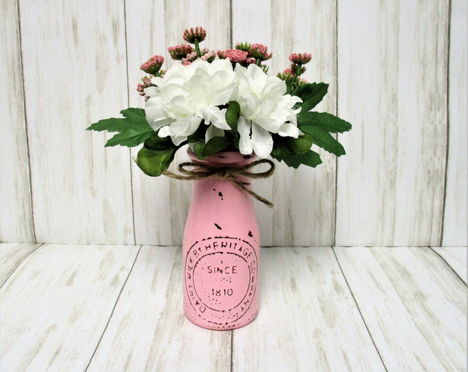 Spring Flower Decor, Dairy Bottle Decor, Flower Arrangement, Centerpiece, Country Chic Decor, Farmhouse Decor, Spring  Decor, Easter Decor