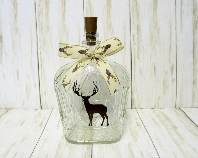 Deer Silhouette Lighted Bottle, Bar Decor, Deer Decor, Table Light, Rustic Decor, Farmhouse Decor, Country Deer