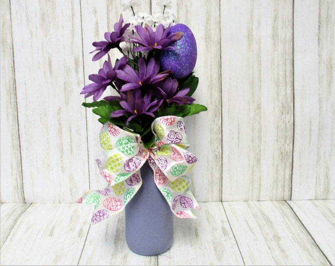 Spring Easter Flower Arrangement, Easter Decoration, Easter Egg Decor, Spring Decor, Flower Arrangement, Purple Decor