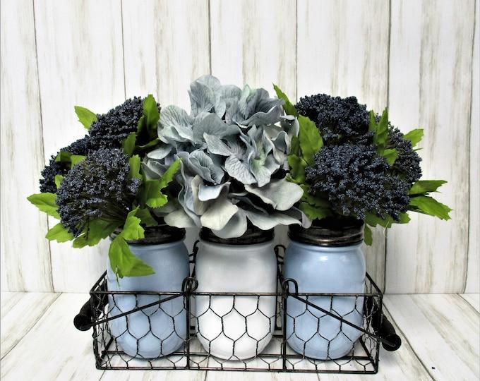 Rustic Chicken Wire Mason Jar Centerpiece,  Flower Arrangement, Mason Jar Decor, Farmhouse Decor, Country Decor, Housewarming