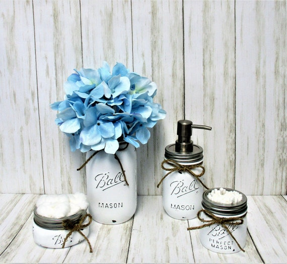 Mason Jar Bathroom Set, Bathroom Set, Desk Set, Vanity Set, Country Chic, Wedding Gift, Farmhouse Bathroom Set, Shabby Chic, White Bathroom
