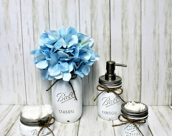 Mason Jar Bathroom Set, Bathroom Set, Desk Set, Vanity Set, Country Chic, Wedding Gift, Farmhouse Bathroom Set, Shabby Chic, White Bathroom