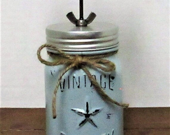Mini Mason Jar Picture Holder, Vintage Jar, Business Card Holder, Desk Accessory, Picture Holder, Home Decor, Farmhouse Decor, Gift