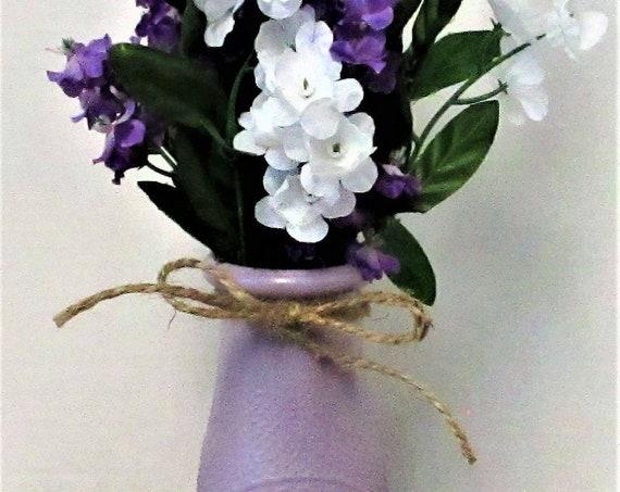 Dairy Bottle Decor, Purple and White Flowers, Milk Bottle, Centerpiece, Country Chic Decor, Farmhouse Decor, Spring Decor, Accent Flowers