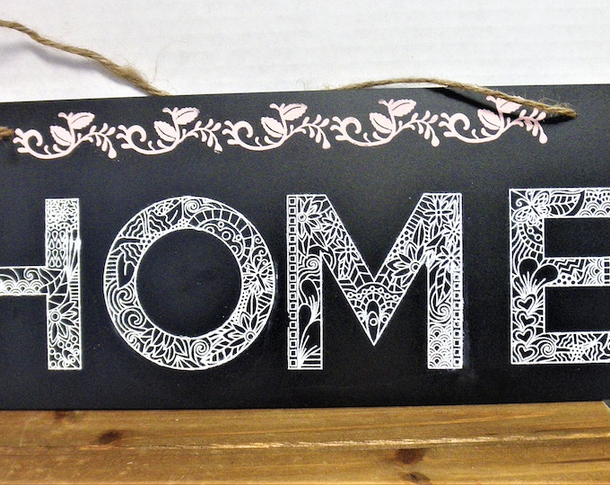 Home Chalkboard Sign / Picture Wall Hanging / Home Decor / Housewarming Gift / Stenciled Sign / Wedding Gift / Chalkboard Sign / HOME