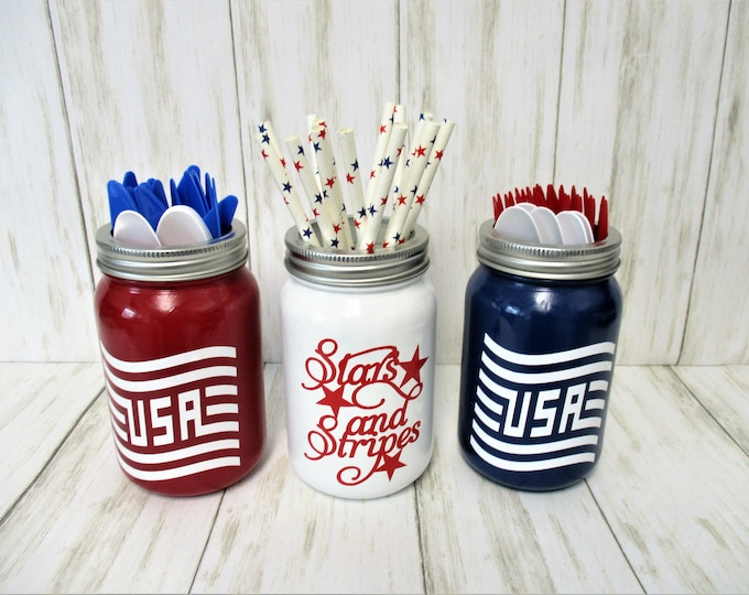 4Th of July Mason Jar Decor Centerpiece, USA Decor, Utensil Holder, Patriotic Mason Jars,  Fourth Of July, Party Decor, Memorial Day Decor