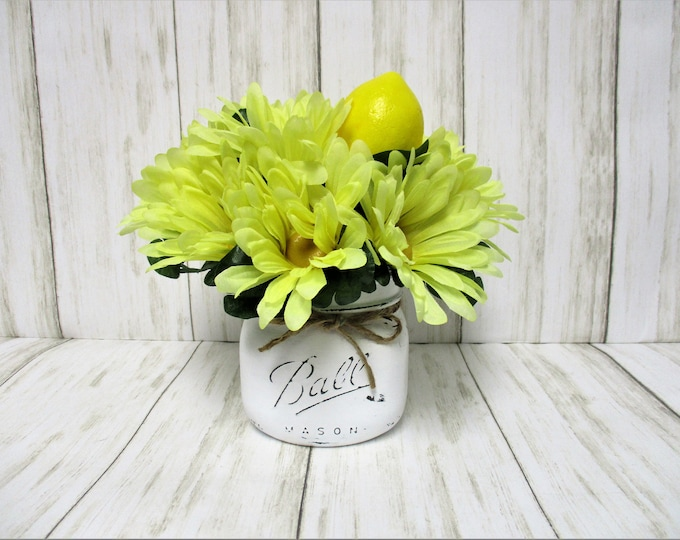 Lemon Daisy Centerpiece, Country Centerpiece, Mason Jar Centerpiece, Kitchen Decor, Country Decor, Spring Decor, Mothers Day Gift, Lemons