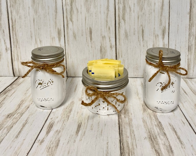 Mason Jar Salt and Pepper Shakers, Toothpick Holder, Kitchen Decor, Rustic Decor, Wedding Gift, Bridal Shower Gift, Home Decor, Farmhouse