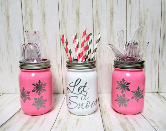 Christmas Let It Snow Centerpiece, Christmas Party Decor, Snowflake Decor, Utensil Holder, Christmas Decor, Mason Jar Decor, Pink Christmas