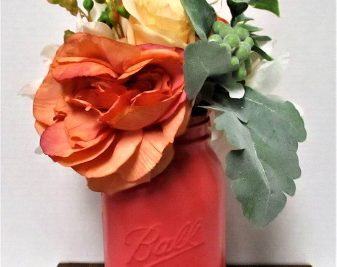 Mason Jar  Centerpiece, Flower Arrangement, Dark Coral Decor, Shabby Chic, Country Chic,  Farmhouse Decor, Wedding Decor, Get Well Gift