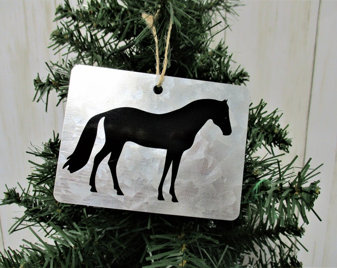 Christmas Ornament, Horse Christmas Ornament, Galvanized Christmas Ornament, Country Christmas Ornament, Horse Decor, Farm Animals