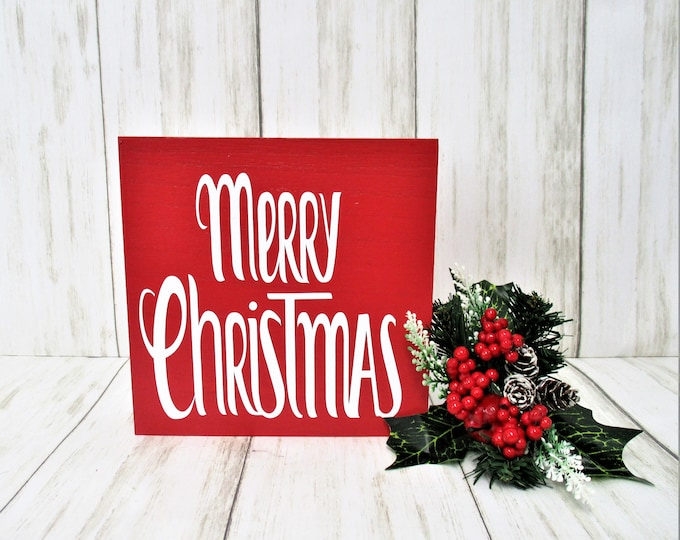 Merry Christmas Sign Decor, Tiered Shelf Sign, Christmas Decor, Mantle Decor, Holiday Decor