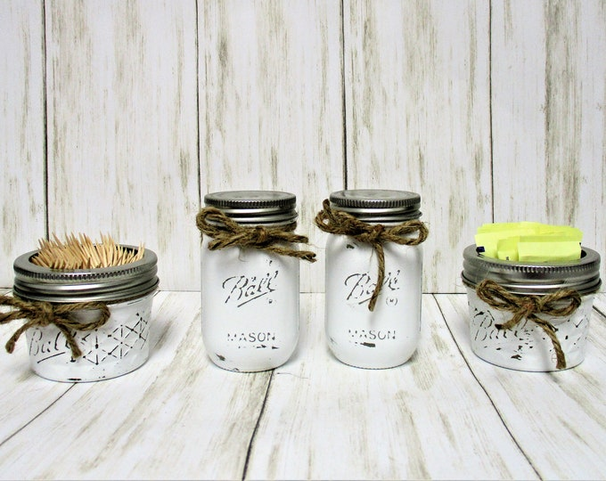 Mason Jar Country Kitchen Salt Pepper Shakers Toothpick Holder Sugar Holder, Kitchen Decor, Rustic Decor, Wedding Gift, Farmhouse Kitchen