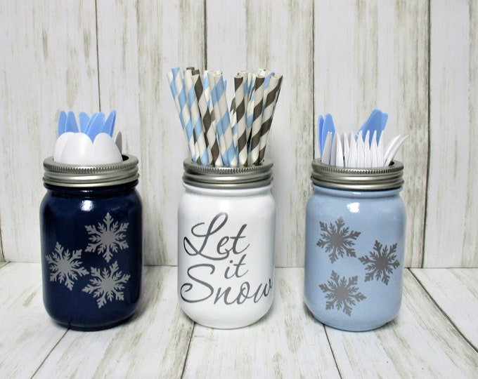 Christmas Let It Snow Centerpiece, Christmas Party Decor, Snowflake Decor, Utensil Holder, Christmas Decor, Mason Jar Decor,