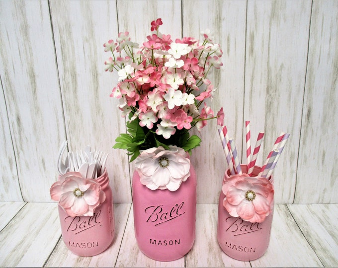 Mason Jar Centerpiece, Pink Mason Jars, Baby Shower, Bridal Shower, Party Decor, Shabby Chic, Baby Girl