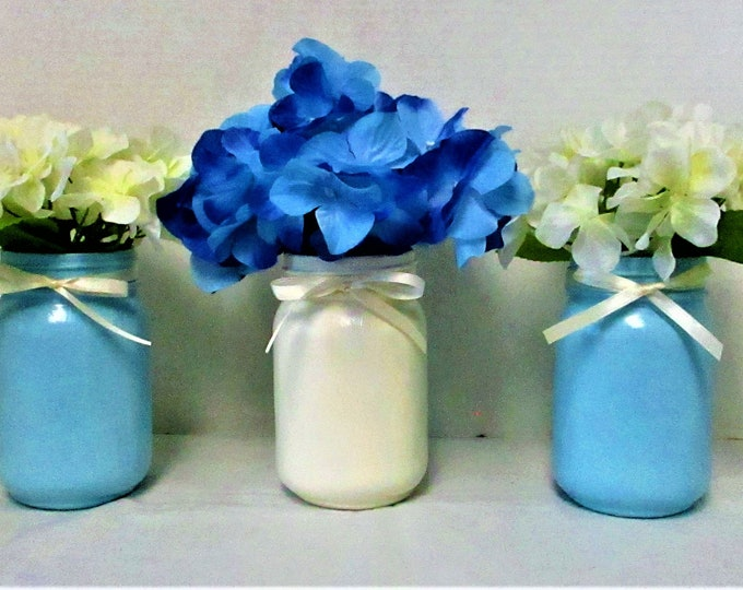 Mason Jar Centerpiece, Blue and White Centerpiece, Mason Jar Decor, Baby Shower Centerpiece  Flower Arrangement, Shabby Chic Decor, Baby Boy
