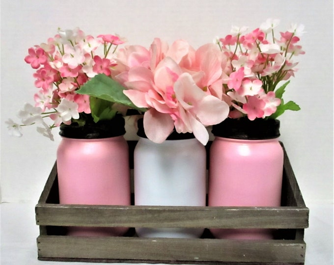 Pink Mason Jar Centerpiece, Mason Jar Decor, Mason Jars, Rustic Decor, Baby Shower Centerpiece, Flower Centerpiece, Shabby Chic
