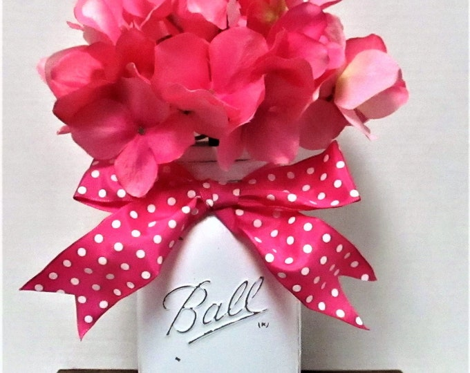 Pink Centerpiece, Mason Jar decor, Shabby Chic Decor, Wedding Decor, Baby Shower, Home Decor, Farmhouse Decor, Pink Decor, Spring Decor