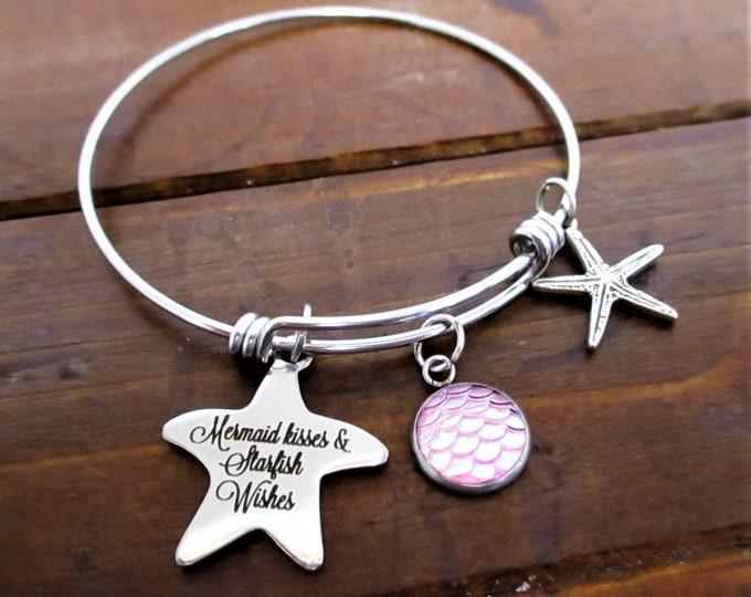 Mermaid Charm Bracelet, Mermaid Kisses & Starfish Wishes Charm Bracelet, Starfish  Mermaid Charm, Beach Lover Gift, Christmas Gift