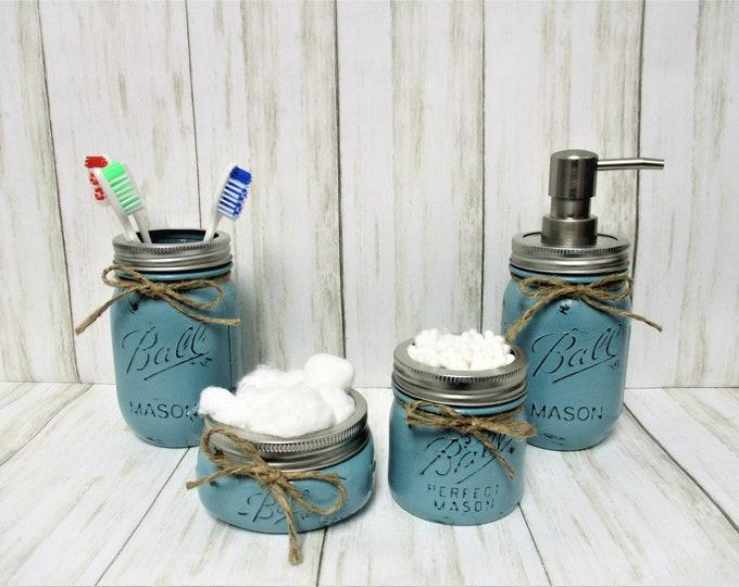 Mason Jar Bathroom Set, Vanity Set, Desk Set, Wedding Gift, Farmhouse Bathroom, Home Decor, Country Decor, Sea Foam Decor