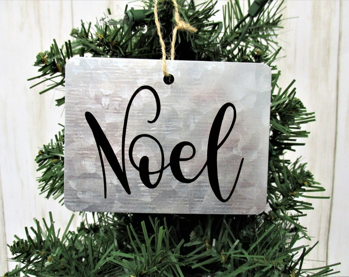 Noel Christmas Ornament, Galvanized Christmas Ornament, Country Christmas Ornament, Farmhouse Christmas Ornament, Rustic Christmas