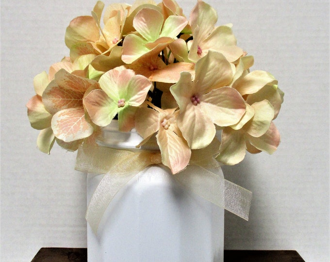 Flower Arrangement, Hydrangea Centerpiece, Shabby Chic Decor, Wedding Decor, Home Decor, Peach Decor, Centerpiece, Get Well Gift