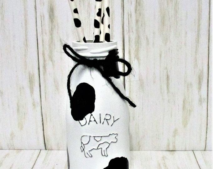 Cow Print Milk Bottle, Dairy Bottle, Cow Print Decor, Farmhouse Decor, Country Decor, Barn Decor, Rustic Decor, Cow Decor, Cow Straws