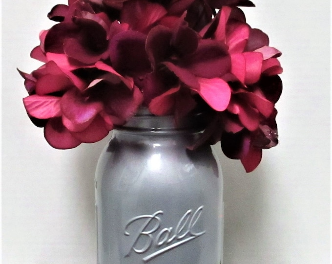 Mason Jar Centerpiece, Flower Arrangement, Silver Metallic, Wedding, Centerpiece, Shabby Chic Decor, Magenta Flowers, Mothers Day Gift