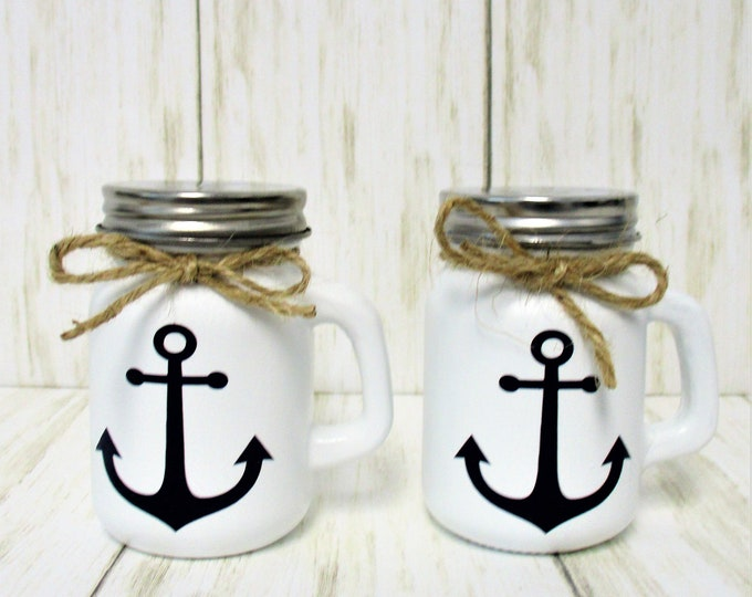 Anchor Beach Salt and Pepper Shakers, Beach Kitchen Decor, Anchor Decor, Beach Decor