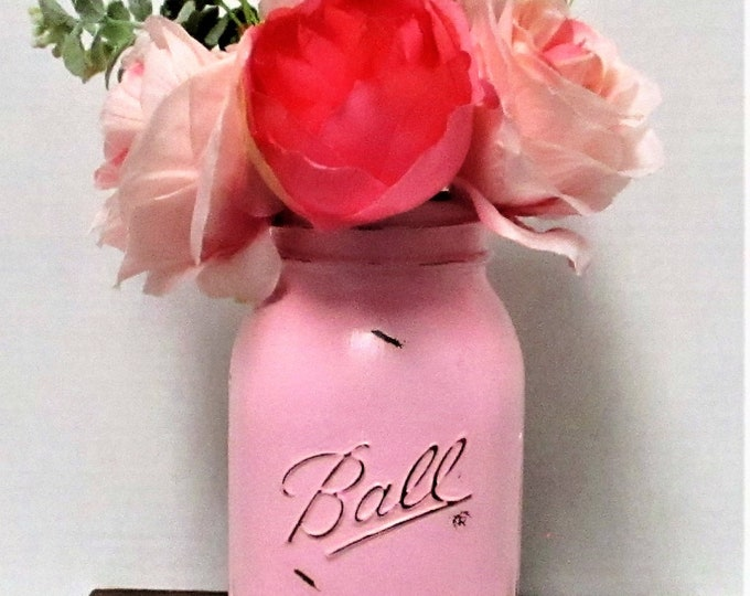 Mason Jar Centerpiece, Shabby Chic Decor, Wedding Decor, Baby Shower, Home Decor, Farmhouse Decor, Pink Flower Arrangement, Get Well Gift