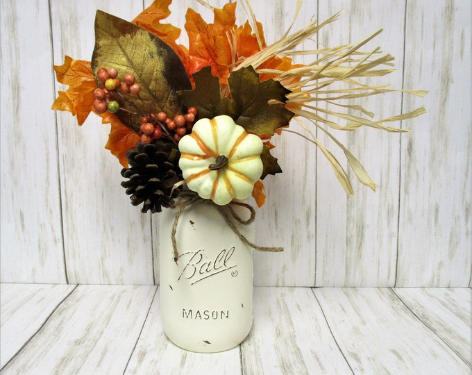 Fall Thanksgiving Centerpiece, Leaves and Pumpkin Arrangement, Home Decor, Country Chic, Farmhouse Decor,  Mason Jar Decor, Fall Decor