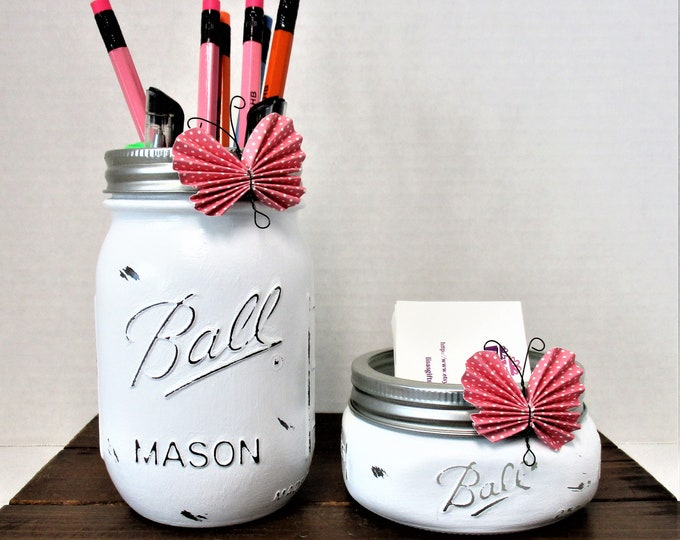 Mason Jar Desk Set, Butterfly Decor, Vanity Set, Bathroom Set, Desk Accessories, Country Chic Decor, Business Card Holder, Pen Holder