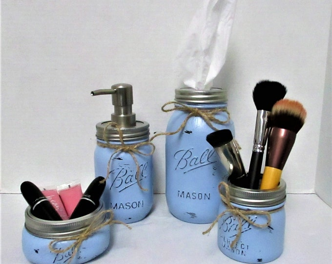 Mason Jar Bathroom Set, Blue Bathroom Set, Desk Accessories, Vanity Set, Country Chic, Wedding Gift, Farmhouse Bathroom, Shabby Chic, Blue