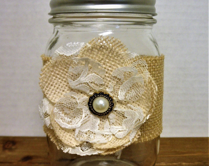 Burlap and Lace Mason Jar Decor, Home Decor Vase, Wedding Decor, Shabby Chic Decor, Shabby Flower, Rustic Decor