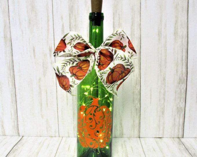 Lighted Bottle, Pumpkin Lighted Bottle, Fall Decor, Bar Decor, Halloween Decor, Table Light, Pumpkin Decor