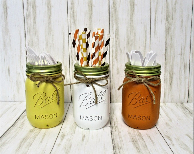 Fall Mason Jar Decor, Fall Party Decorations, Centerpiece, Fall Centerpiece, Utensil Holder, Halloween Decor, Thanksgiving Decor