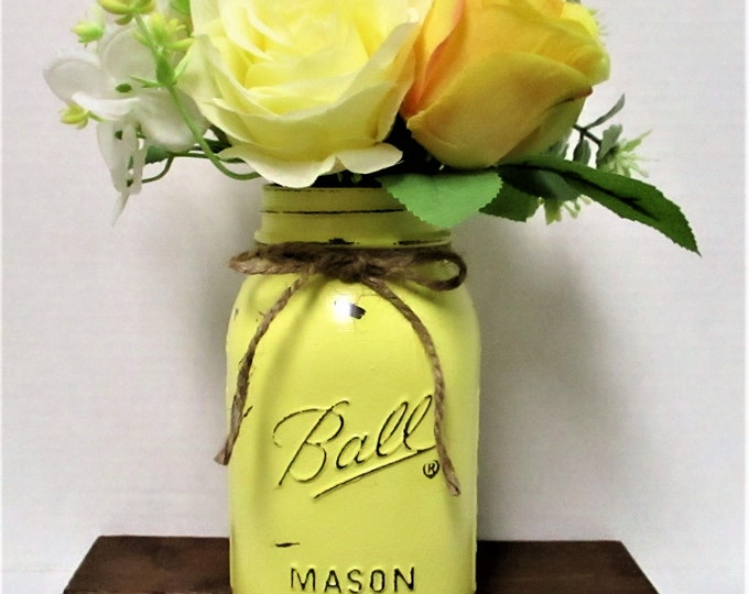 Mason Jar Flower Arrangement Centerpiece, Yellow Roses, Shabby Chic, Country Chic,  Farmhouse Decor, Home Decor, Get Well Gift