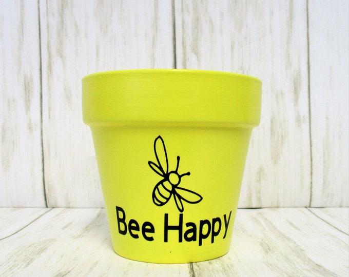 Bee Happy Mini Herb Flower Pot, Grow Garden Herb Planter Pot, Home Decor, Succulent Planter