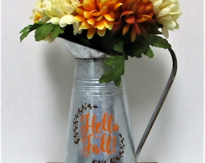 Fall Watering Can Centerpiece with Flowers, Fall Decor, Farmhouse Decor, Thanksgiving Decor, Rustic Decor, Home Decor, Hello Fall