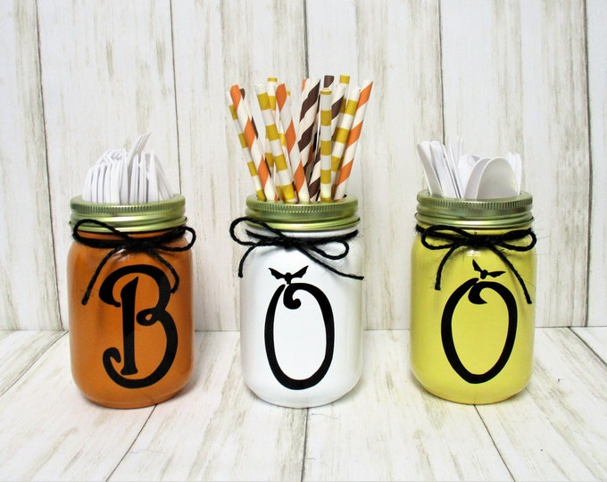 Halloween Fall BOO Mason Jar Centerpiece, Halloween Party Decor, Boo Decor, Mason Jar Decor, Fall Decor