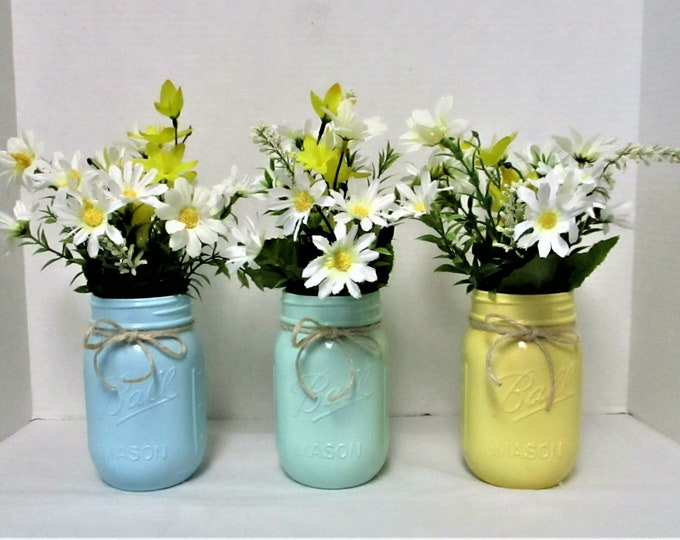 Mason Jar Centerpiece, Pastel Mason Jar Decor, Spring Centerpiece, Country Chic, Baby Shower Decor, Shabby Chic