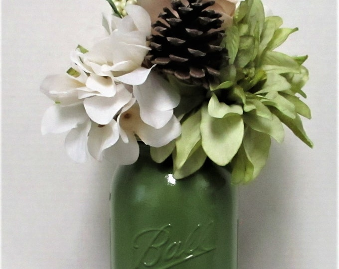 Mason Jar Centerpiece, Fall Centerpiece, Country Chic, Farmhouse Decor, Christmas Centerpiece, Christmas Decor, Pine Cone Flower Arrangement